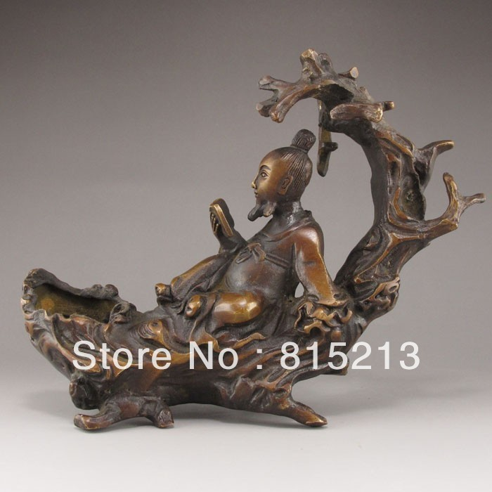 Wang 000164 Chinese Bronze Statue - Old Man