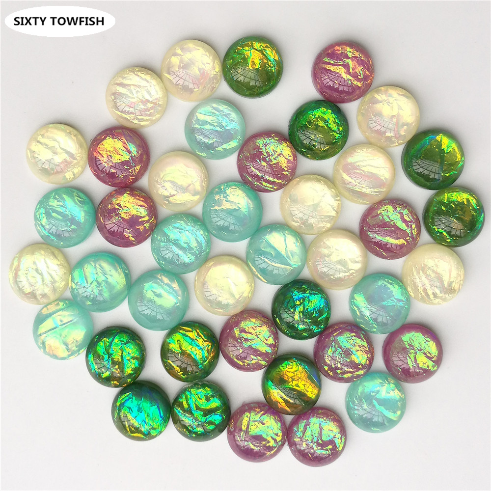 30 pcs/lot Round beads Resin Diameter 12mm Mixed Colors Cabochon Domes Flat back DIY Jewelry Finding Pendant Settings S1005 image