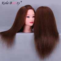 Brown Hair Styling Mannequins Cosmetology Mannequin Head For Wig Hairdressing Training Doll Heads Manikin Makeup Practice