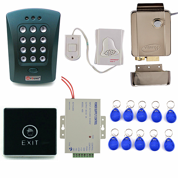 DIY RFID 125KHz ID Card Reader Keypad Access Control System Kit + Electronic Lock + Power Supply +10 ID Cards usb pos numeric keypad card reader white