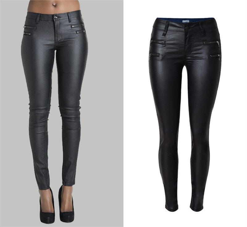Hot Sale skinny leather PU fake zippers low waisted pencil pants full length trousers jegging leggings jeans plus size women sexy diamond sequined scratched pencil pants washed low waisted full length denim women jeans trousers womans plus size