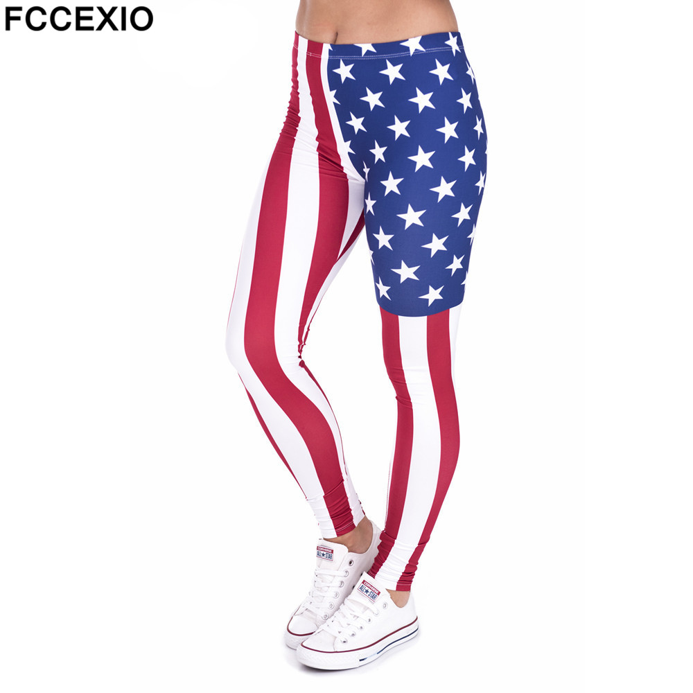 Fccexio Women Leggings High Waist Fitness Legging New Style Flag America Printed Leggins Female Pants Workout Slim Trousers