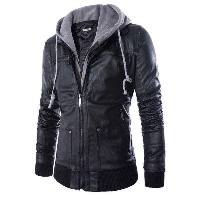 5ec61b9417b New Men Leather Jackets Hoodie PU Motorcycle Jaqueta Fashion Mens Coat  False two leather jacket De Couro Masculina Slim Leather