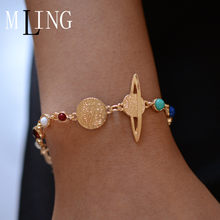 MLING Vintage Gold Rhinestone Anklets For Women Colorful Srtone Newest Anklet Jewelry(China)
