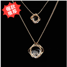Fashion Necklaces for Women 2016 Two Layered thin Chain Gold Long Necklace Simple clear rhinestone Charming Costume Accessories