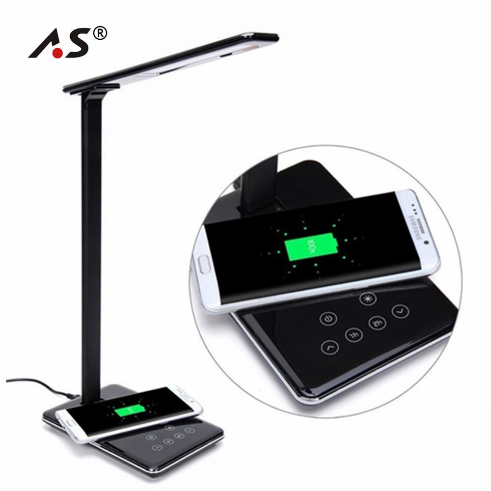 A.S multifonction Unique lampe de table LED + Qi chargeur de chargeur sans fil pour iPhone 8 X Samsung Galaxy S8 S7 bord Note 5