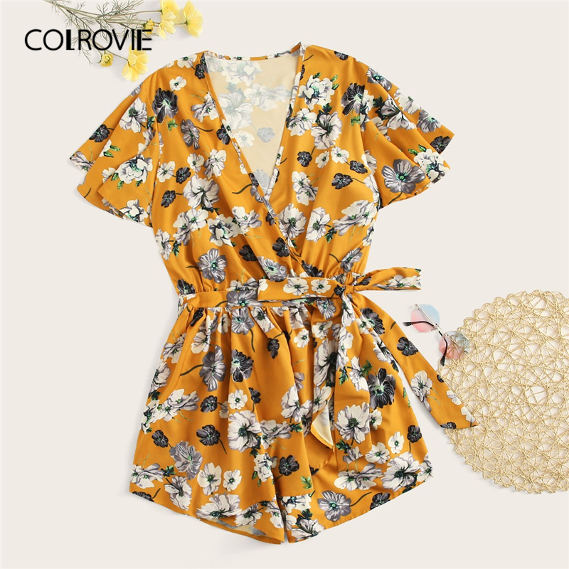 COLROVIE Plus Size Ginger Floral Print Surplice Front Boho   Jumpsuit   Rompers With Belt Women 2019 Summer Beach Wear Sexy Playsuit