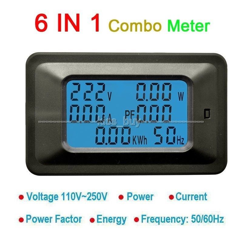 AC All in One Meter Voltage 110V 220V Current 20A Power Factor KWH Frequency HZ