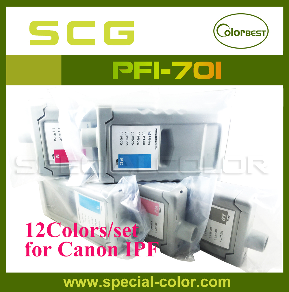 12Colors/set IPF 8000/8100/9000/9100 Printer Pigment Ink Cartridge PFI-701 700ml Ink with Chip