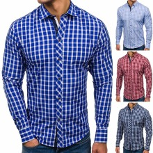 Mens Plaid Turn-down Collar Shirt Smart Casual Classic Contrast Slim fit Long Sleeve Dress Cotton sleeve shirt