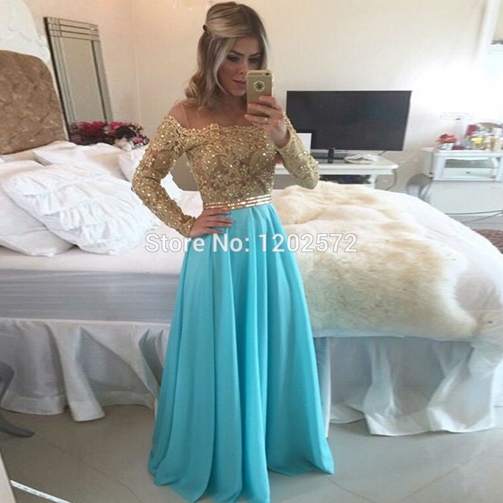 Long Sleeve Prom Dress Real Beaded Applique Ruched Top Sale ...