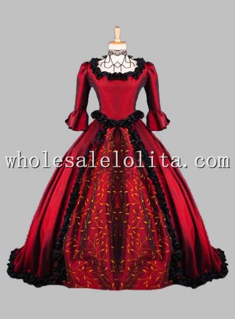Готическое роскошное платье в викторианском стиле с принтом красного вина, Венецианский карнавальный костюм Марди Гра - Цвет: Красный