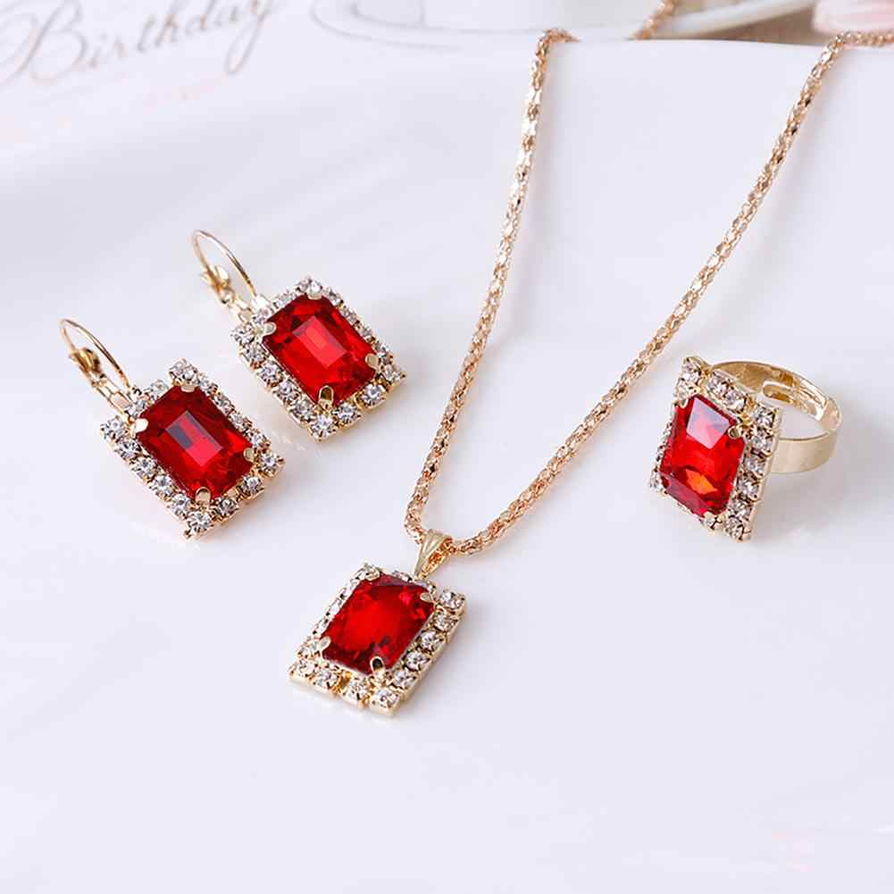 Fashion Jewelry Set Women Banquet Wedding Party Necklace Earrings Finger Ring new