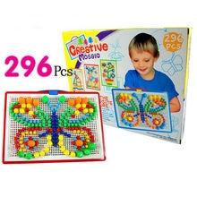 296pcs Puzzle Children Kids Early Education Toy Creative Peg Board Mushroom Nail