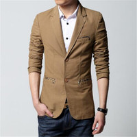 Mens casual blazer and jacket new korean fashion style black khaki brown slim fit hot sale Male coat plus size big 6XL drop ship
