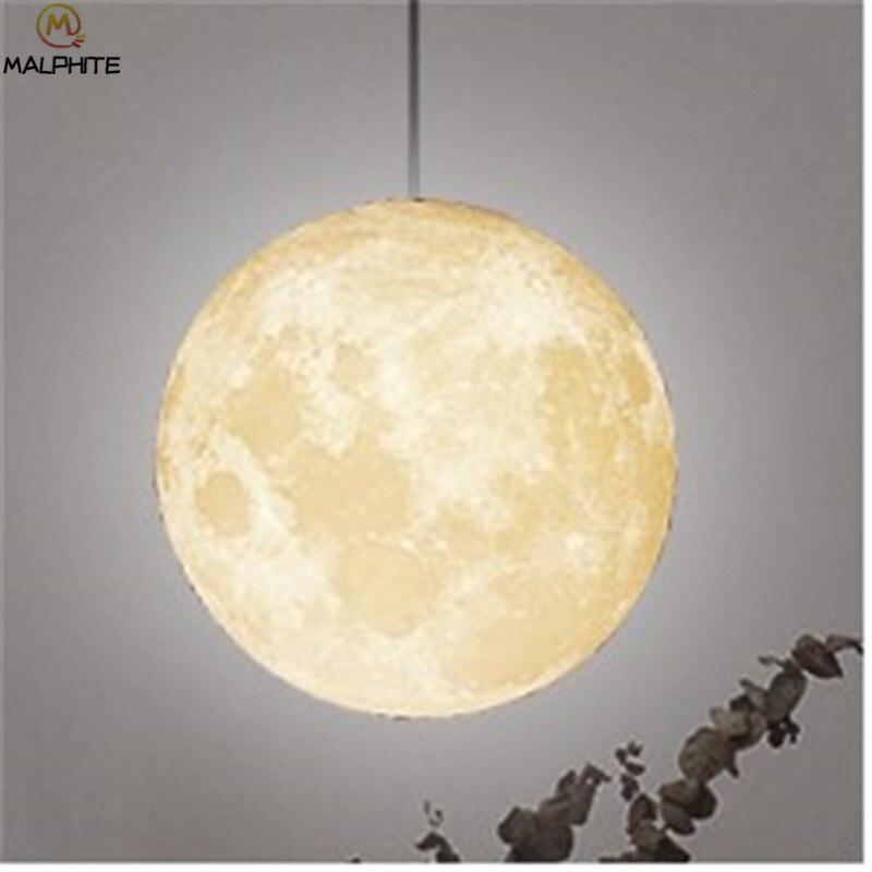Nordic 3D Print Lunar Hanglampen Woonkamer Moderne Decor Armatuur Slaapkamer Nachtkastjes Maan Licht Opknoping Hanglamp Armatuur - 6