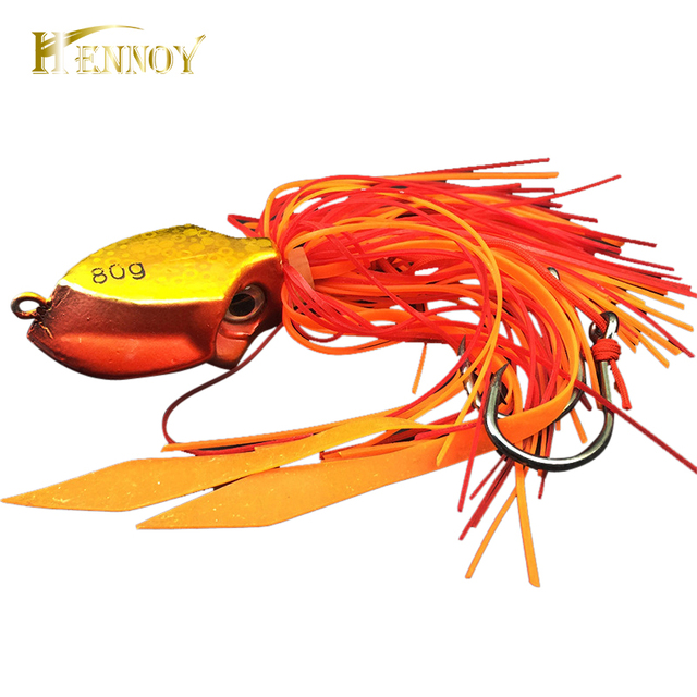 Hennoy New Lead Jig 80g Lures Deep Sea Boat Fishing Lead Jig Hook Lures Octopus Head Jigs Fishing Accessories Equipment