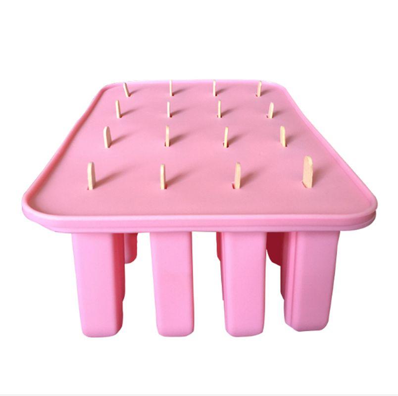 Nuevo estilo (1 set / lote) Molde de paleta de silicona 16 Forma rectangular Cuboide Molde de helado con tapa Envío gratis Para hornear