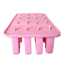 New Style (1set/lot) Silicone Popsicle Mold 16 Rectangle Cuboid Shape Ice Cream Mold with Lid Free shipping Bakeware