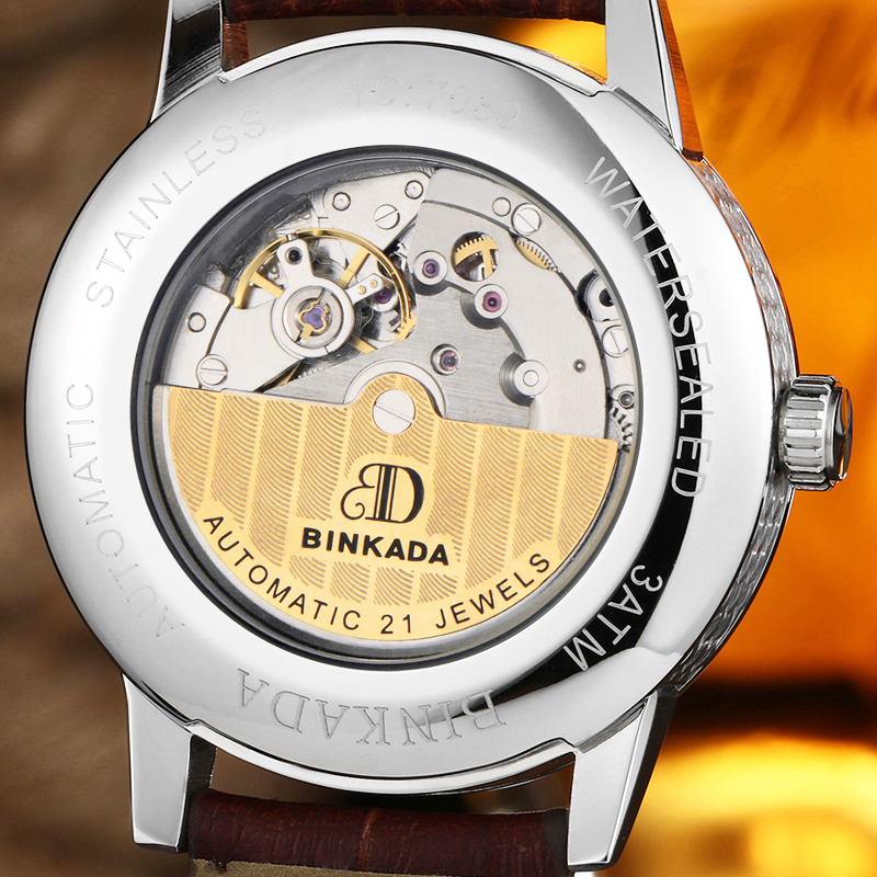 Binkada MenS Steel Leather Band Automatic Mechanical Watches Men