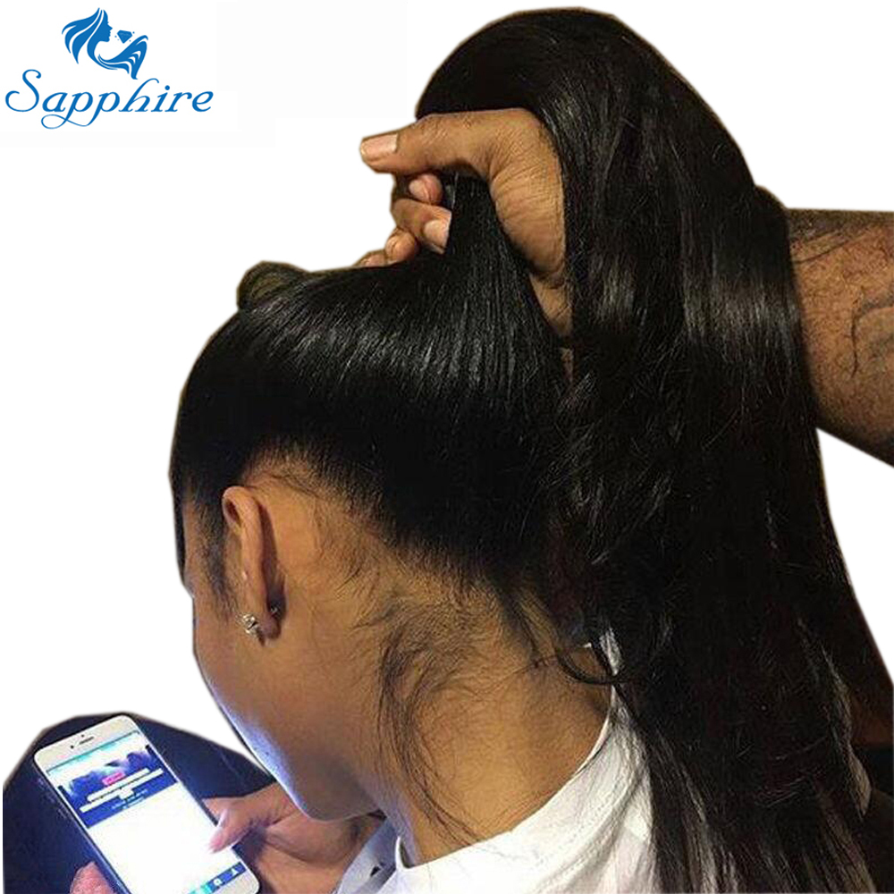 Sapphire Peruvian 360 Lace Frontal Wig Full Lace Human Hair Wigs 360 Lace Front Human Hair Wigs With Baby Hair For Black Women(China)