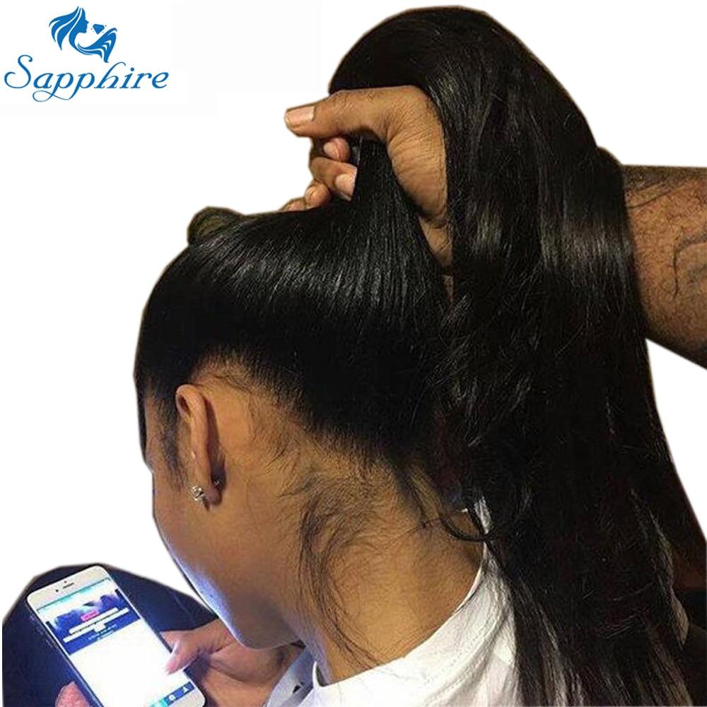 Sapphire cheveux cheveux humains pleine dentelle perruques pré plumé délié naturel avec des cheveux de bébé droite brésilienne Remy cheveux perruques noeuds blanchis