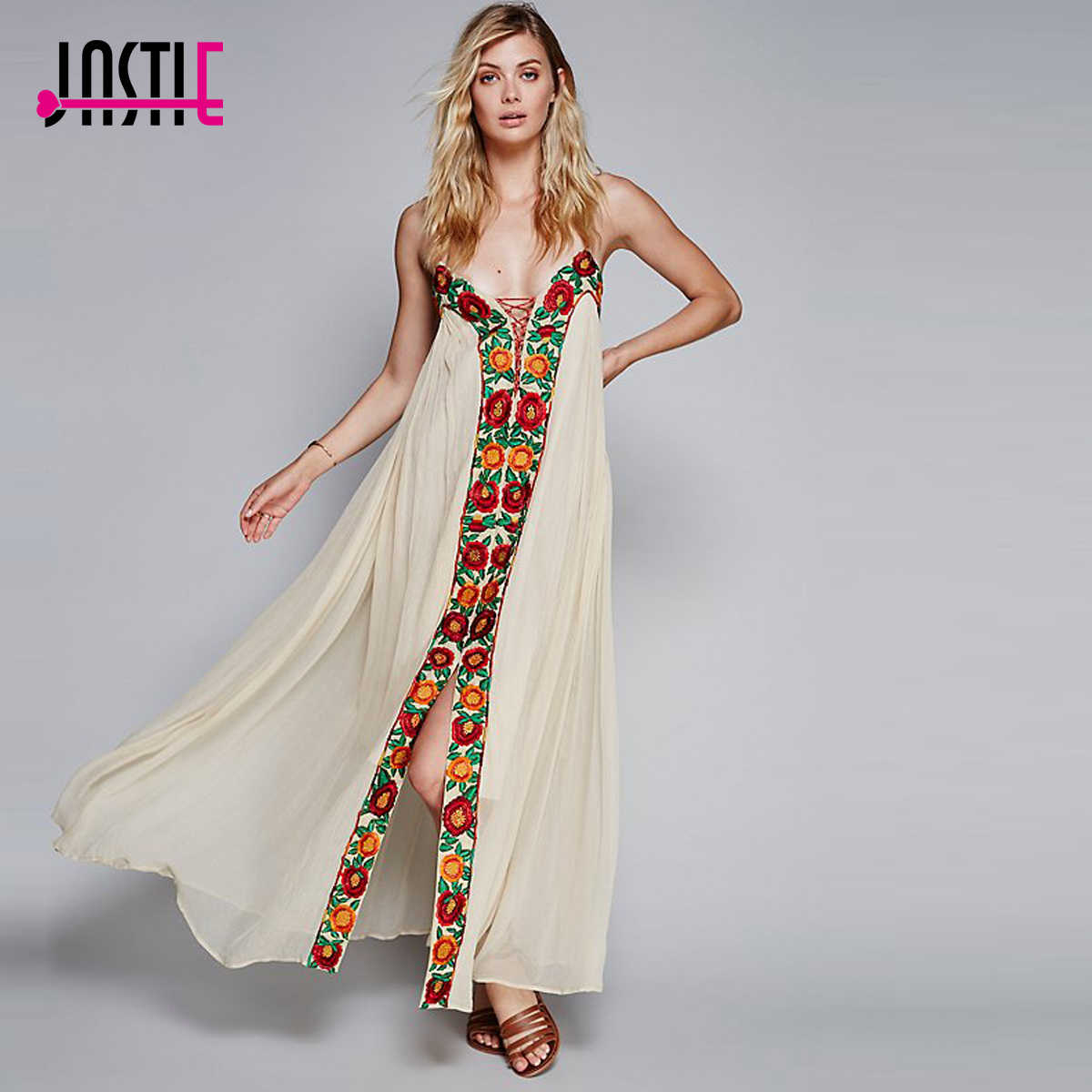 4add363273d ... Jastie Free-Flowing Maxi Dress Floral Embroidery Boho Dress V-Neck  Lace-Up ...