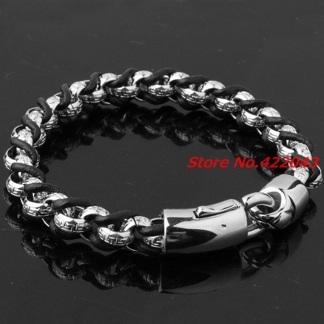 "9""*10mm Genuine Black Leather Bangle Men Women Punk Silver Rolo Link Chain Stainless Steel Bracelets Handmade Wristband Pulseras"
