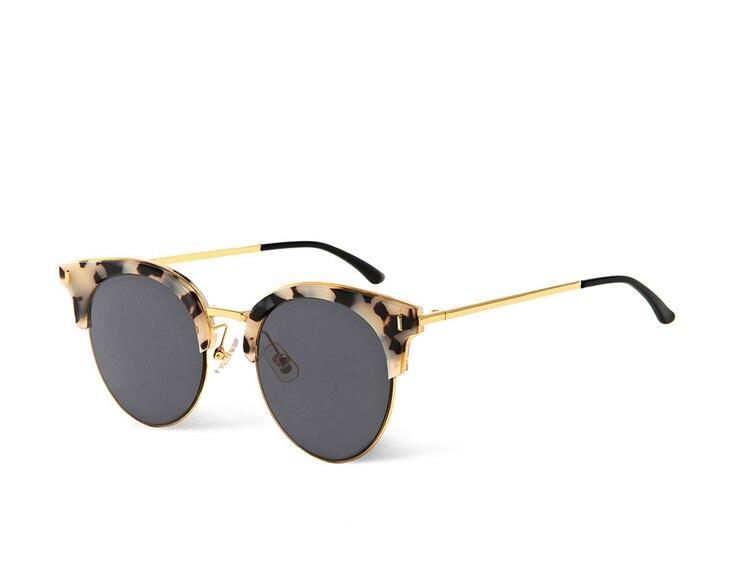 Marque de mode Designer lunettes de soleil yeux de chat femmes demi-jante polaroid conduite lunettes de soleil demi-cadre nuances UV400 plat lentilles noires