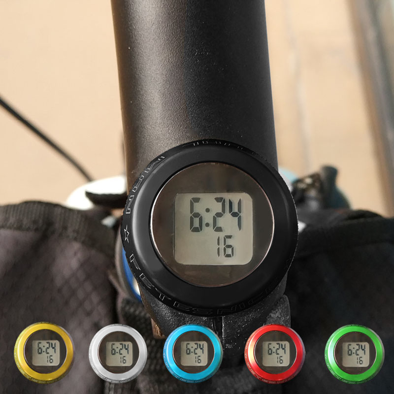 Bike Bicycle Headset Stem Watch Computer Bike Vehicle Clock Cycling Head Parts Timepiece Headset Top Cap Stem Cover For MTB Part