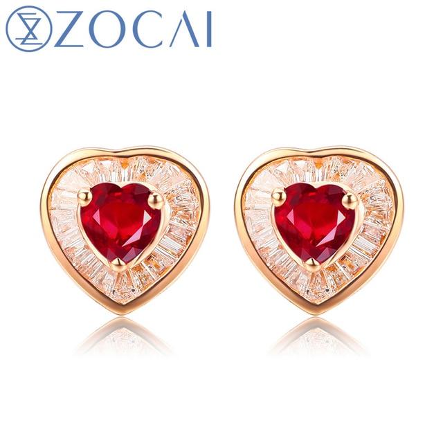 Zocai Heart Shape Genuine Ruby Gemstone 0 56 Ct Certified Stud Earrings With 45 Diamond