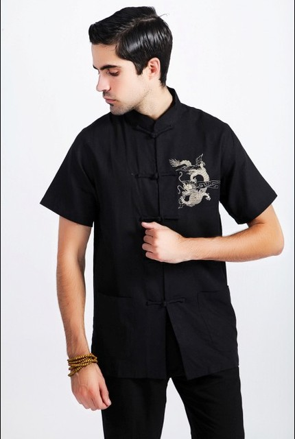 Black Tradition Chinese Men's Cotton Linen Embroider Dragon Kung-Fu Shirt with Pocket M L XL XXL XXXL Free Shipping 2999-3