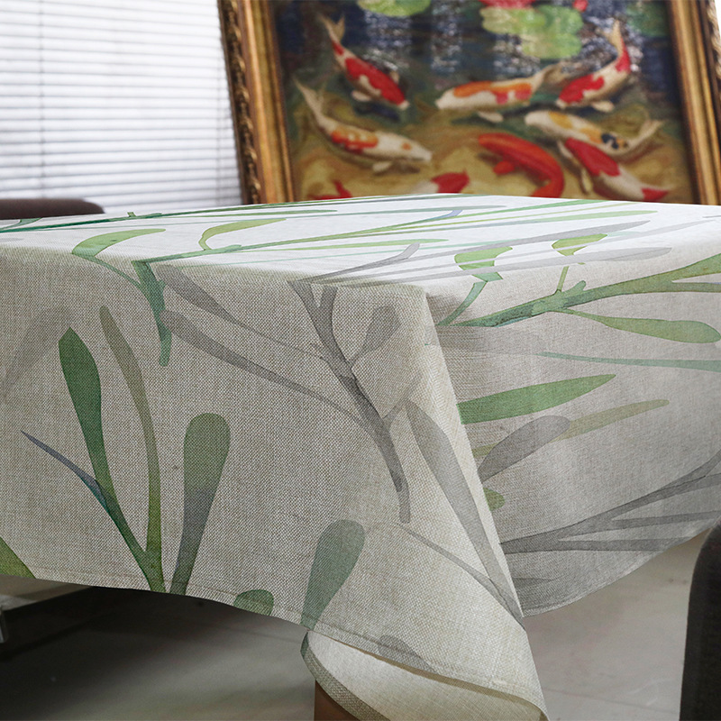 Table cloth Rectangular Ink painting style Tropical Plants leaf Print Tablecloth Home Protection and decor Elegant Table cover