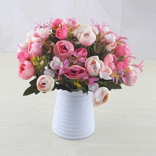 10Heads Artificial Flower Tea Rose Bouquets home party Wedding Home Christmas decoration mariage fake