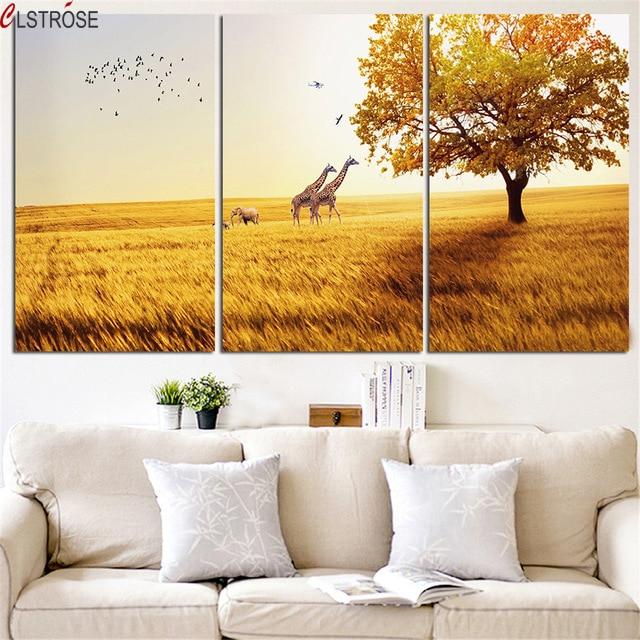 CLSTROSE Nuovo Bella Giraffa E Cervi Pittura Murale HD Animale Arte Della Decorazione Della Casa Per Soggiorno Stampa Immagini