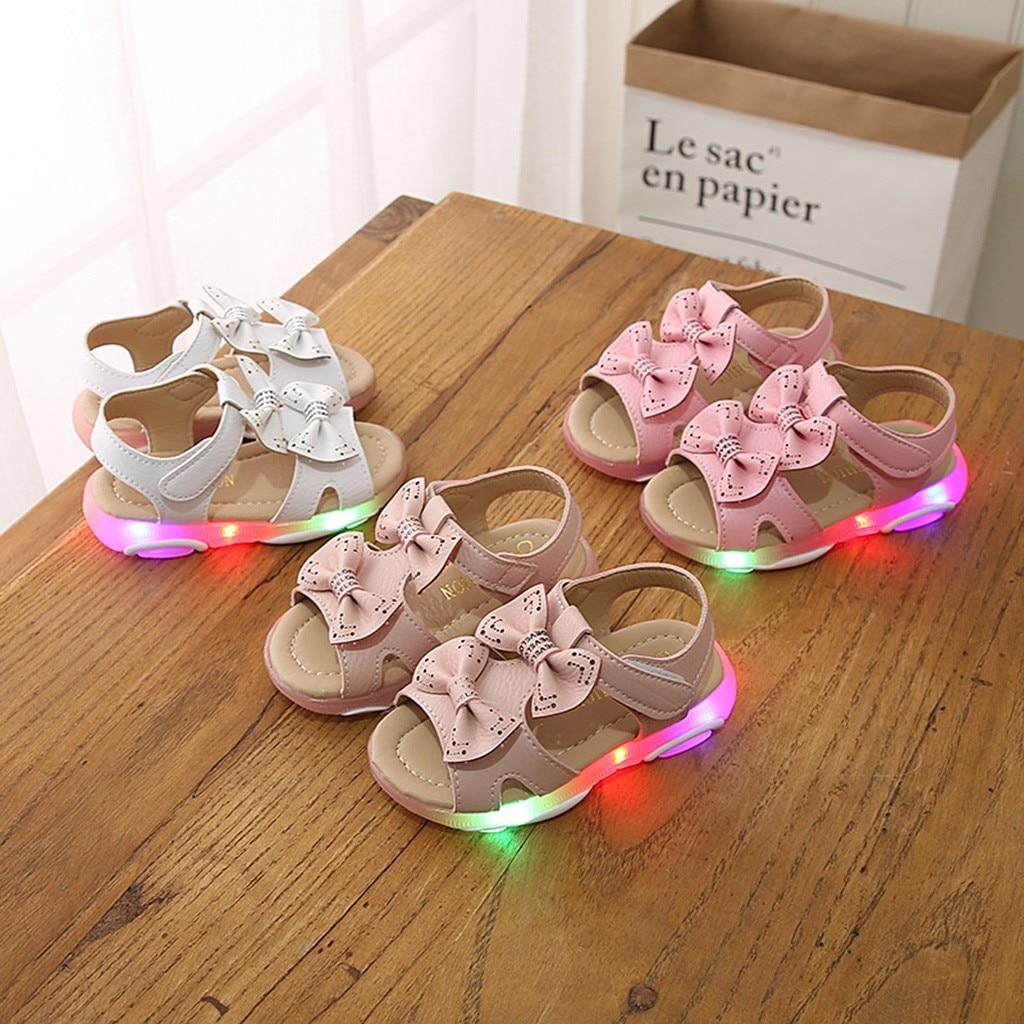 Light Luminous Sandals Children Baby Girls Led Sport Sneaker Shoes Bowknot Sandals LED Sandals For Children Chaussures Fille|Sandals| |  - title=