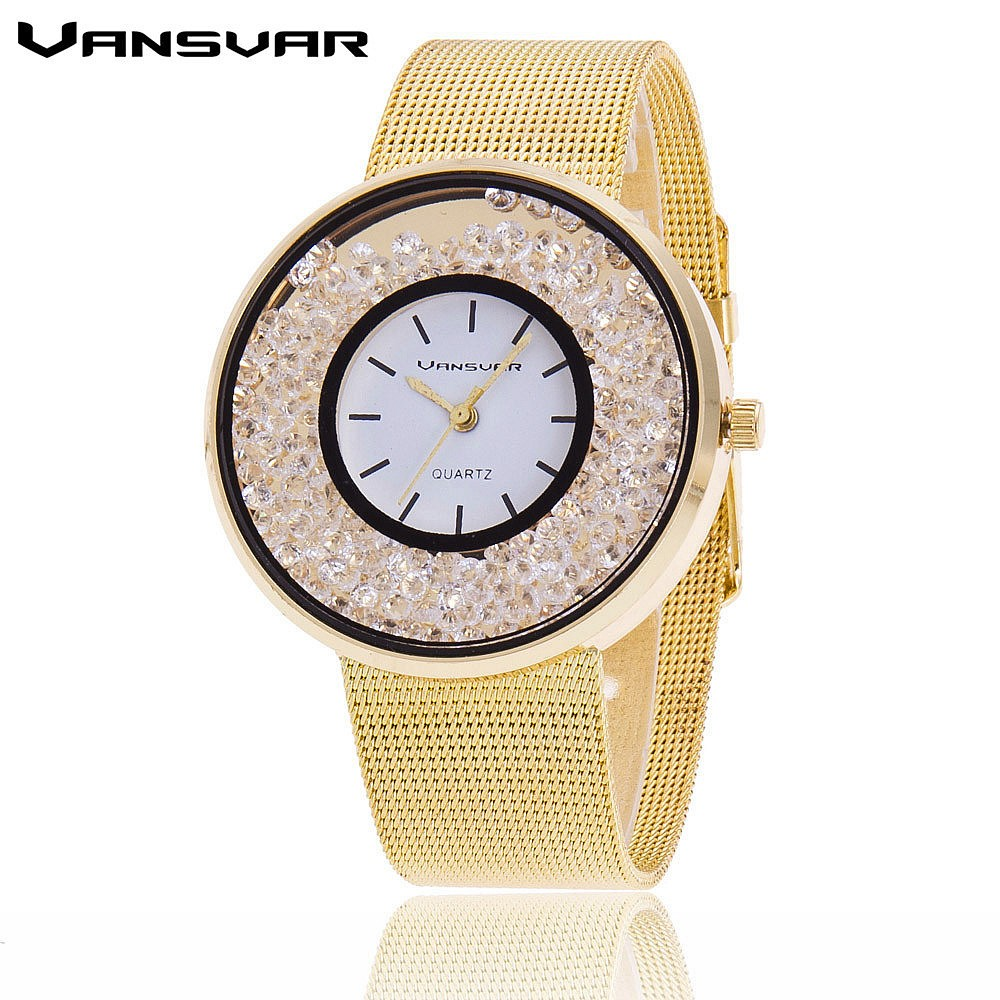 Women Rhinestone Watch in Stainless Steel Gold