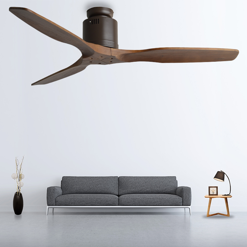 Modern Nordic 3 Wooden Blades Ceiling Fan With Remote Control Attic Without Light Fan Dining