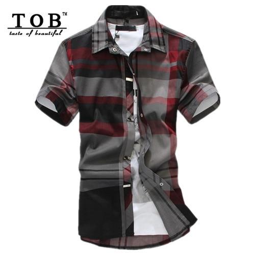 8f8754e8214f TOB red black plaid shirt men short sleeve camisa masculina cotton casual  men shirt slim fit plus size 6XL casual dress shirts