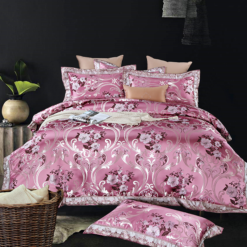 Luxury Silk Cotton Satin Jacquard Palace Emboss Bedding Set Silky Duvet cover Bed Sheet Pillowcases Queen King size 4pcs bed linLuxury Silk Cotton Satin Jacquard Palace Emboss Bedding Set Silky Duvet cover Bed Sheet Pillowcases Queen King size 4pcs bed lin