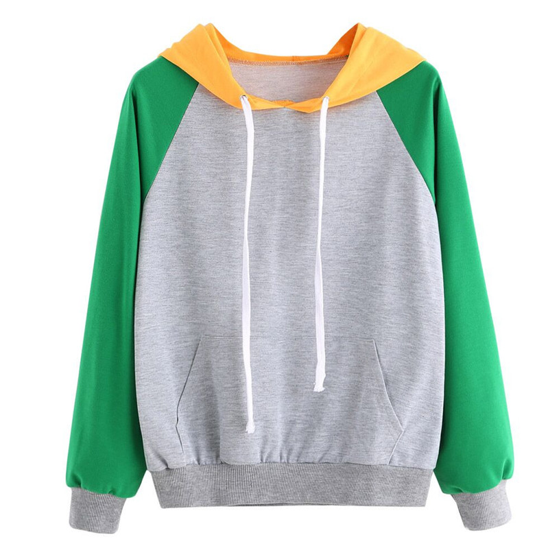 2020 #   Women Autumn Polyester Casual Hooded Sweatshirts Long Sleeve Patchwork With Pockets Pullovers Women Hoodie Sweatshirts