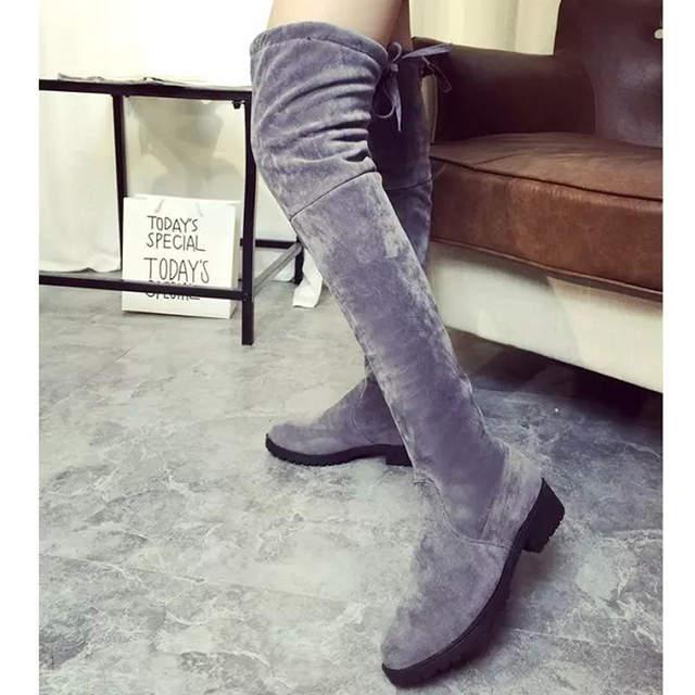 c82986cf80 Cinza botas de pele senhoras das mulheres mocassim de camurça coxa botas  altas sobre o joelho ...