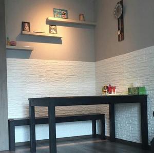Image 4 - 70*77*0.8 3D duvar çıkartmaları su geçirmez köpük dekorasyon kabartmalı yatak odası oturma odası DIY yapışkanlı ev çıkartmaları PE taş paneller