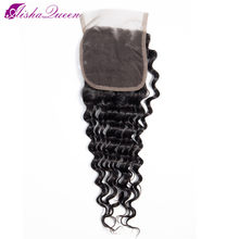 Aisha Queen Deep Wave Lace Closure 100% Human Hair Closure Middle/Free/Three Part Peruvian Non Remy Hair Natural Color(China)