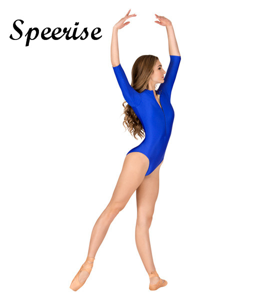 SPEERISE Long Sleeve Bodysuit Lycra Spandex Unitard Ballet Dance Gymnastics Leotard Adult Leotards High Neck White Leotard