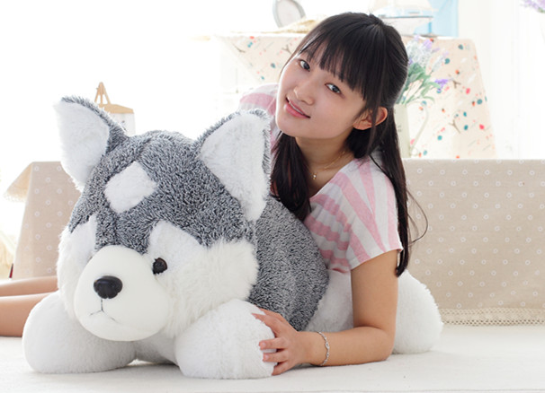 large 80cm prone husky dog plush toy sleeping pillow ,birthday gift h952 stripes sweater design prone husky largest 165cm gray husky dog plush toy sleeping pillow surprised christmas gift h907