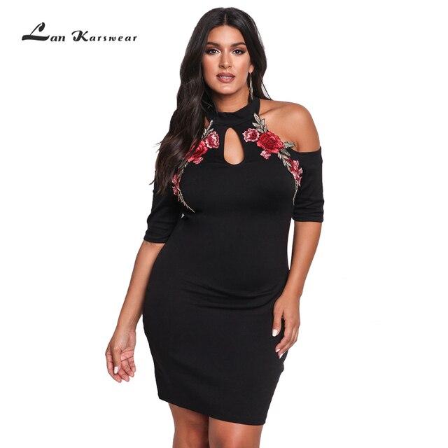 Lan Karswear 2017 Plus Size Dress XXXL Black Off Shoulder Bodycon Large Rose Applique Embroidery Flower Sexy Nightclub Dresses