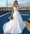 V-neck Long Sleeve Wedding Dress Beach vestido de noiva boho See through Back White China Wedding Dresses Bride gowns