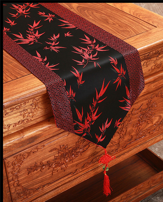 Modern Bamboo Patterns Table Runner Chinese Style High End Damask Fabric  Decorative Coffee Table Cloth Banquet