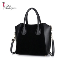 Hot Sale! Bag fashion bags 2013 patchwork nubuck leather womens handbag smiley shoulder free shipping